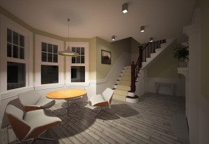 Interior night Macwell render