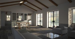 Evening interior render with Maxwell