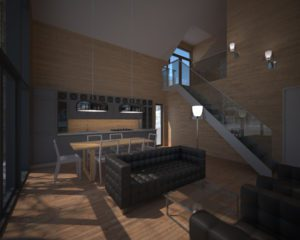 Interior architectural rendering
