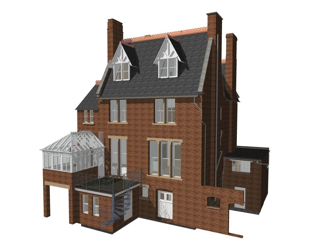 Archicad model of detailed British house.