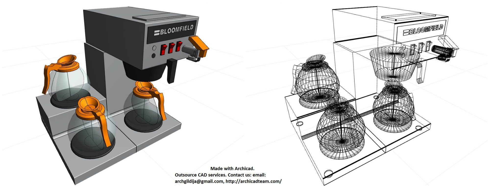 Archicad model Bloomfield cofeemaker by ArchicadTeam.com